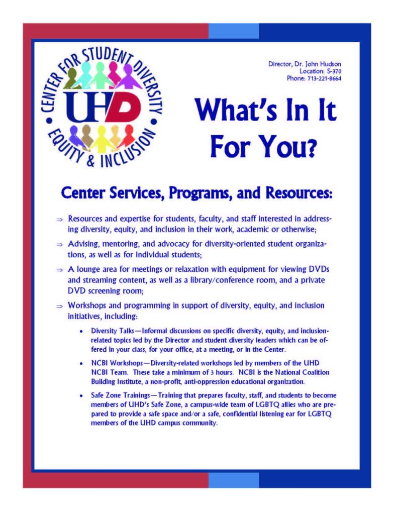 Whats In It For You - Staff Inclusive