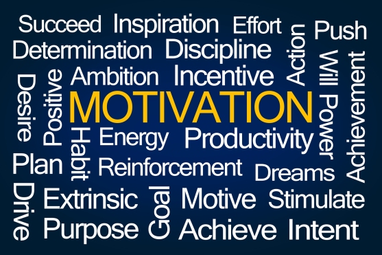 Motivation Word Cloud on Blue Background