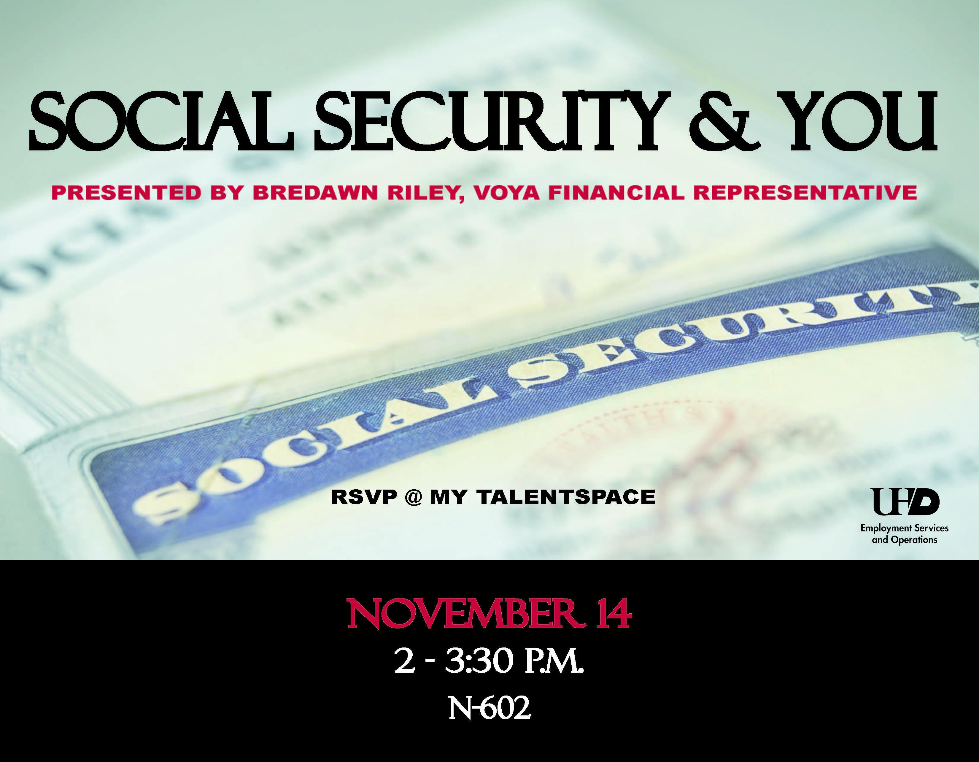 Register today for Social Security presentation Nov  14